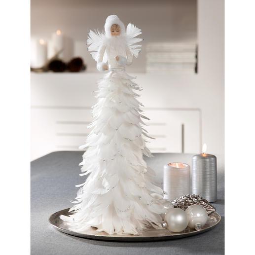 Eisfee - Märchenhafte Schönheit: die Eisfee aus schneeweissen Federn. Flaumzart. Romantisch. Effektvoll mit Glitzer betupft.