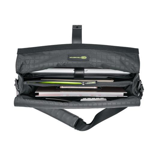 Die durchdachte Innen-Organisation bietet übersichtlich Platz für Laptop, Tablet-PC, Smartphone, Unterlagen, Stifte & Co. ...