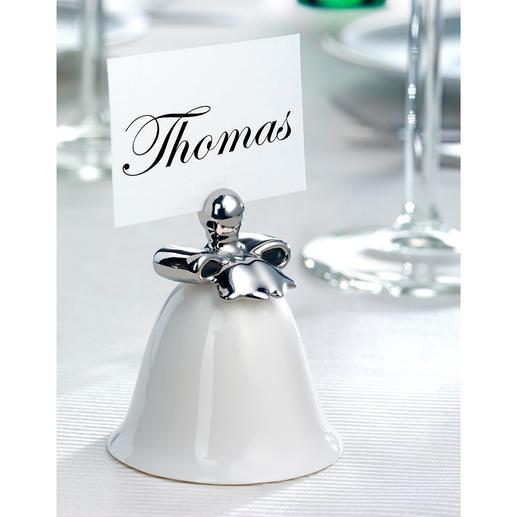 Alessi Tischkartenhalter, 4er-Set - Feines Porzellan, zarter Glockenklang. Elegant von Hand in Silber dekoriert. Kreiert von Stardesigner Marcel Wanders.
