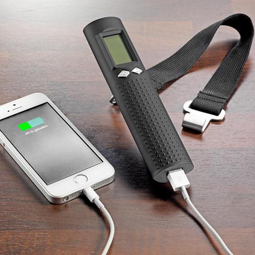 Praktisch für unterwegs: Mit dem integrierten Akku können Sie Ihr Smartphone nachladen.