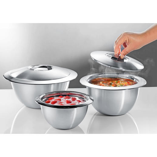 Edelstahl-Thermoschüsseln mit Deckel Doppelwandiger Edelstahl hält Ihre Speisen länger heiss oder kalt. In der Küche, auf dem Buffet und Tisch.