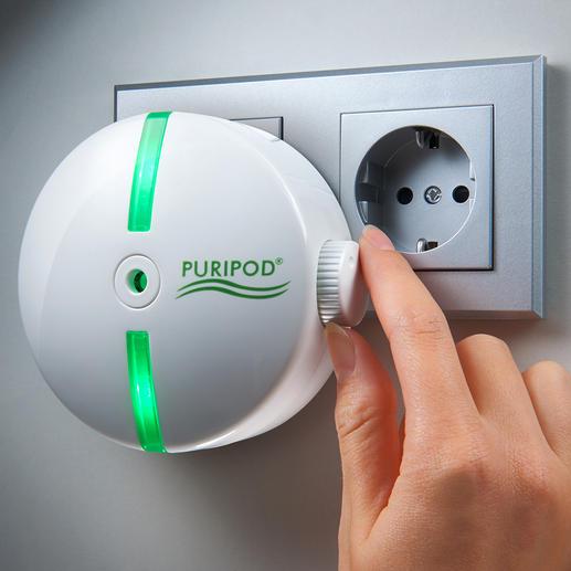 Puripod® Ionen-Luftreiniger Saubere Raumluft - zuhause und unterwegs. Bindet Schmutzpartikel, erfrischt und beseitigt bis zu 99,97 %* Keime und Bakterien.