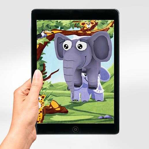 Auf Ihrem Smartphone oder Tablet entsteht aus den Motiven eine virtuelle Animation.