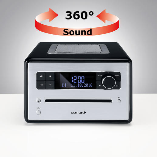 """Der kraftvolle 3""""-Breitband-Lautsprecher strahlt nach oben ab und füllt den ganzen Raum mit exzellentem Klang."""