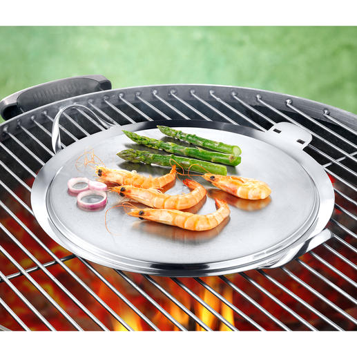 Mit dieser Plancha gelingen Speisen ohne grossen Aufwand auf jedem Holzkohle-, Gas- und Elektrogrill.
