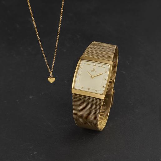 Obaku Karree-Damenuhr mit Herz-Halskette (Set) - Das Geschenk-Set aus Armbanduhr und passender Halskette: Zeitloses dänisches Design. Erfreulich günstiger Preis.