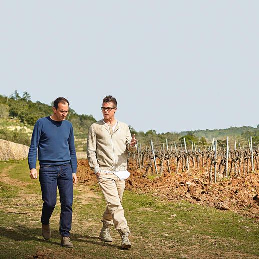 Weinmacher Marc Perrin und Gutseigentümer Brad Pritt.
