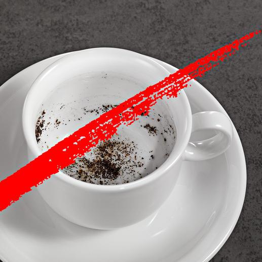 Nie wieder Kaffeesatz in Ihrem Aufguss.