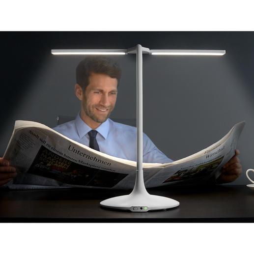 Mobile Akku-Tischleuchte Endlich auch kabellos: die 180°-Tischleuchte mit 3 Lichttemperaturen, Dimmer und Timer.