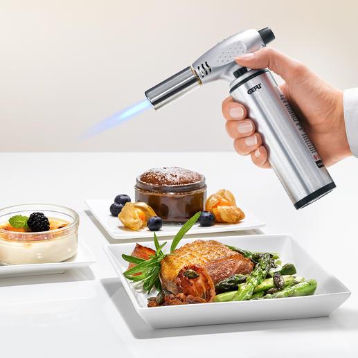 Profi-Flambierbrenner - Karamellisiert Zucker einfach auf Knopfdruck. Ideal auch zum Enthäuten von Paprika und Tomaten.