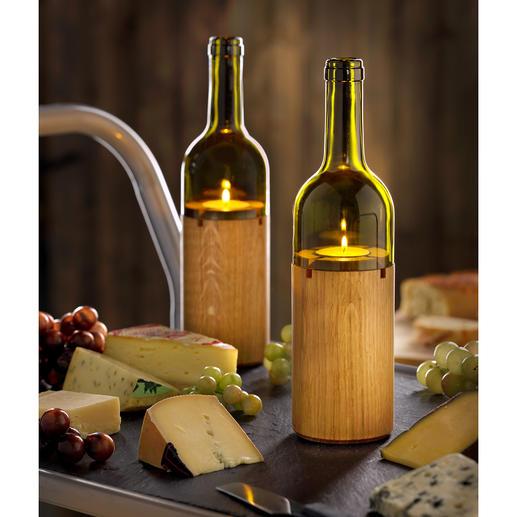 Flaschen-Windlicht Stimmungsvolle Lichtquelle für das Candle-Light-Dinner auf Balkon und Terrasse.