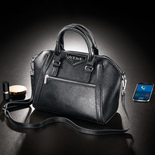 Handtasche 2.0 Die Digitale Revolution der Handtasche: mit Bluetooth-Vibrationsalarm und LED-Innenbeleuchtung.