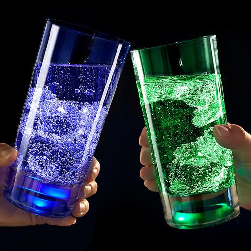 TouchOn Leuchtglas, 2er-Set - Im Glasboden eingegossene LEDs tauchen Ihr Getränk in geheimnisvolles Licht.