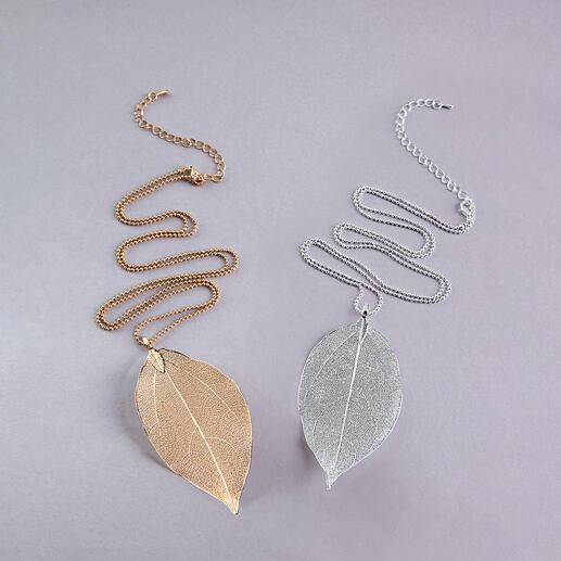 Bodhi-Blatt-Kette Von der Natur designed: das Blatt des Bodhi-Baums. Vergoldet oder versilbert. Und jede Kette ein Unikat.