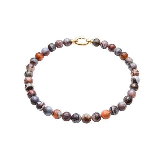 Botswana-Achat-Collier oder Armband Einzigartig in Färbung und Maserung. Dennoch erfreulich erschwinglich. Das trendgerechte Edelstein-Collier.