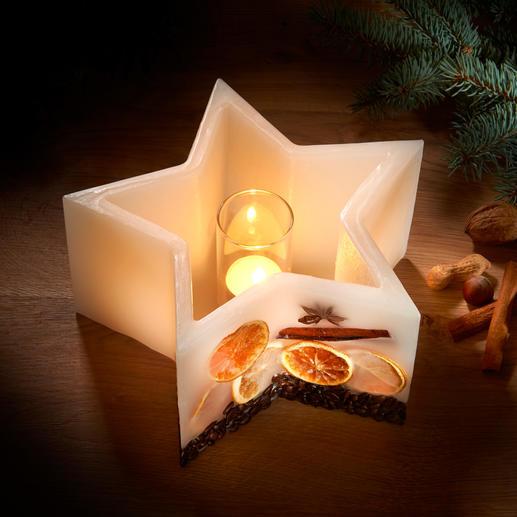 Stern-Windlichtkerze Geniessen Sie den warmen Schein wertvoller Kerzen ... die nie abbrennen. Nur Wachs – und dennoch ein Windlicht.