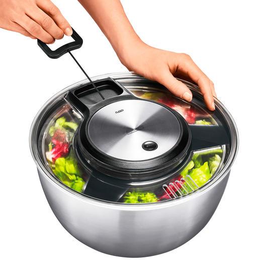 Gefu® Salatschleuder Preisgekröntes Edelstahl-Design trocknet empfindliche Blattsalate schonender. Ohne Richtungswechsel.
