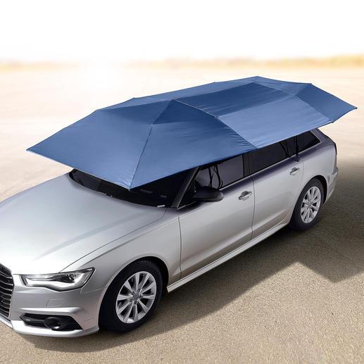 Portabler Auto-Sonnenschirm - Schützt vor UV-Strahlung und Hitze. Hält Regen, Staub, Vogelkot, Baumharz, ... ab. Öffnet und schliesst automatisch.