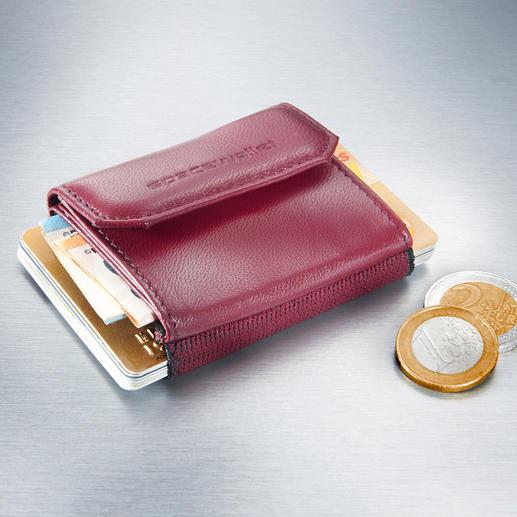 Space Wallet® Mini-Damenbörse Nicht grösser als eine Puderdose: Perfekt für die angesagten Mini-Bags, elegante Clutches und Abendtaschen.