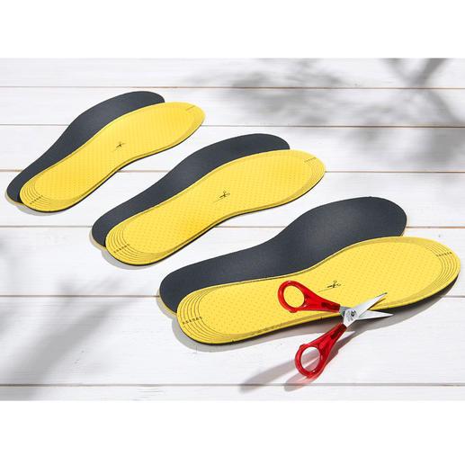 Die Einlegesohlen lassen sich schnell mit der Schere Ihrer Schuhgrösse anpassen.