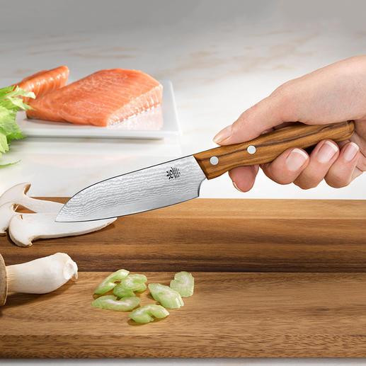 Damast-Messer Die Schärfe und Schnitthaltigkeit grosser Damaszener-Messer – jetzt auch als Schäl- und Gemüsemesser.