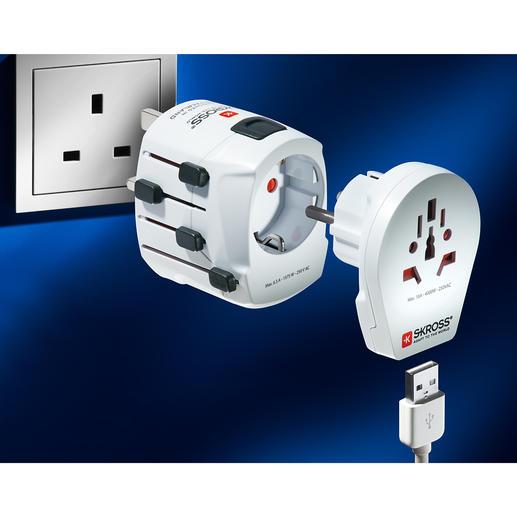 SKROSS® Weltadapter PRO World Verbindet 2- und 3-Pol-Gerätestecker. In über 205 Ländern (statt oft nur 150) weltweit. Ideal auch für leistungsstarke Geräte wie Laptops, Haartrockner, ...