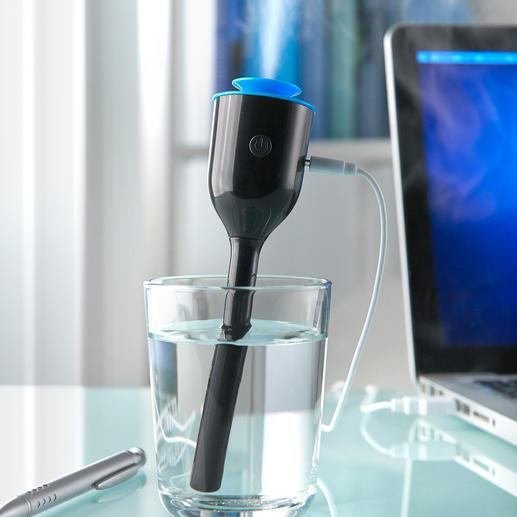 Reise-Luftbefeuchter - Kaum grösser als ein Kugelschreiber. Der ideale Luftbefeuchter für Reisen. Und für Schreibtisch, Nachttisch, Kinderzimmer.