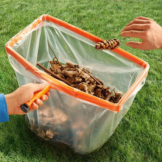 Müllsack-Helfer mit Holzstiel - Der perfekte Helfer bei Gartenarbeit & Co.