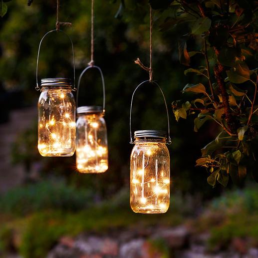 LED Lichterkette im Einmachglas, 3er-Set Mikro-LED-Lichterkette mit Dämmerungs-Automatik. Solarbetrieben und outdoortauglich.
