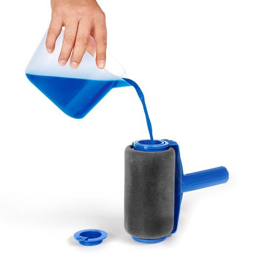 Leicht befüllbar: Einfach Klappe öffnen und bis zu 1l Wandfarbe einfüllen.