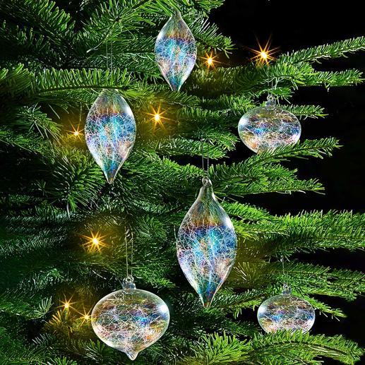 Irisierender Glasfäden-Baumschmuck, 6er-Set Reizvolles Lichtspiel: der Baumschmuck mit Glasfäden-Füllung und RegenbogenSchimmer.