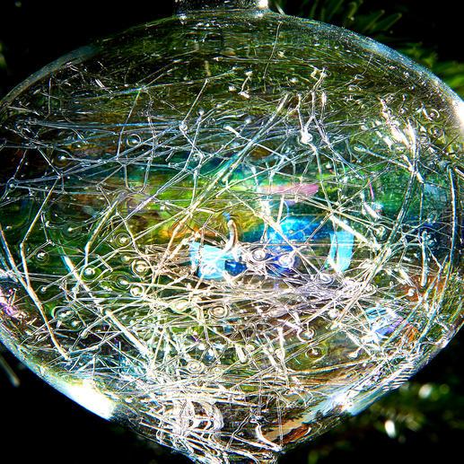 Irisierender Glasfäden-Baumschmuck, 6er-Set