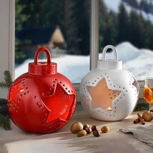 Weihnachtskugel-Windlicht Keramik Festliches Windlicht: Die handgefertigte XL-Weihnachtskugel aus Florentiner Keramik.