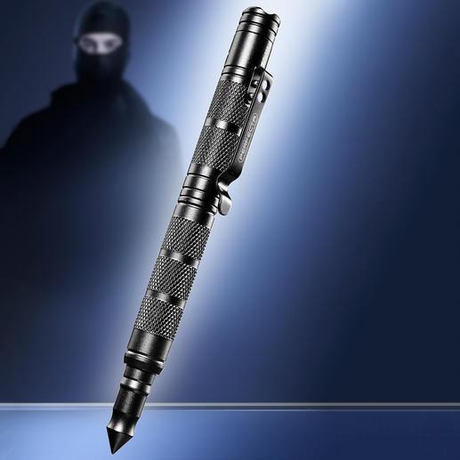 Tactical Pen 4-in-1: solider Kugelschreiber, LED-Leuchte, Glasbrecher und griffbereites Notwehr-Tool.