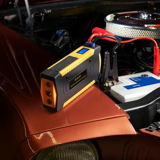 Hochleistungs-Starthilfe Kraftvoll genug sogar für Diesel-Fahrzeuge und Transporter bis 3 l Hubraum. Mit 16.800 mAh Ladekapazität.