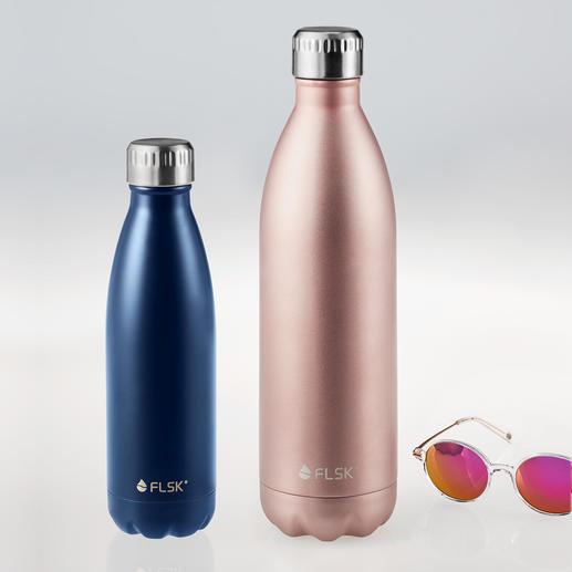 FLSK Isolierflasche oder muki Snackpot Die FLSK-Flasche mit VICC®-Isolier-Technologie: Hält bis zu 24 Stunden kalt und bis zu 18 Stunden heiss.