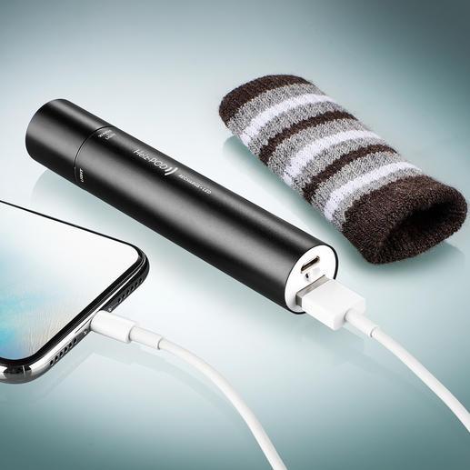 Der eingebaute Lithium-Ionen-Akku speist Handwärmer und Licht und versorgt Smartphone, MP3-Player, ... mit neuer Energie.