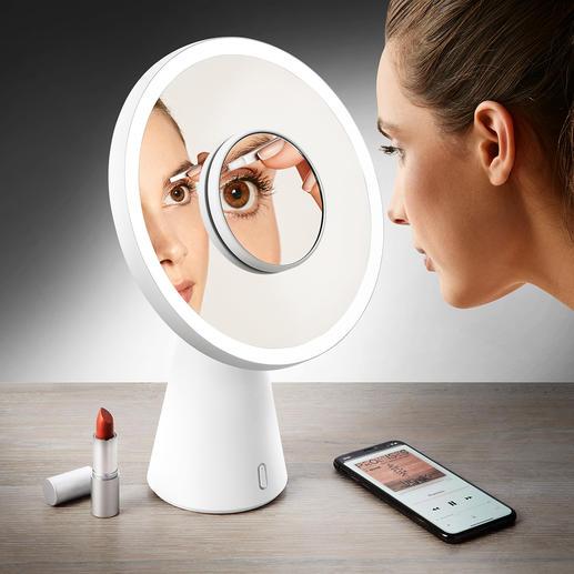 """4-in-1 Kosmetikspiegel """"Moon Mirror"""" Mit einem Handgriff vom Kosmetikspiegel zur Tischleuchte. Ausgezeichnet mit dem Red Dot Design Award 2018."""