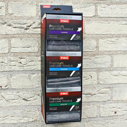 Car Care Tuchspender 3 speziell abgestimmte Mikrofasertücher für Innenraum, Aussenreinigung, Glas & Glanz. Immer wieder verwendbar.