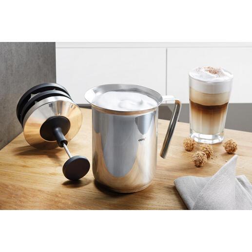 Gefu® Doppelsieb-Milchaufschäumer Zwei Siebe statt nur einem. Für perfekten Milchschaum in weniger als 60 Sekunden.