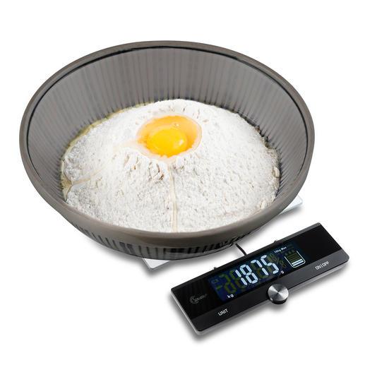 Küchenwaage mit ausziehbarem Display Elegantes Edelstahl-/Glasdesign mit ausziehbarem Display, 10 kg Tragkraft und präzisen 1-g-Schritten.