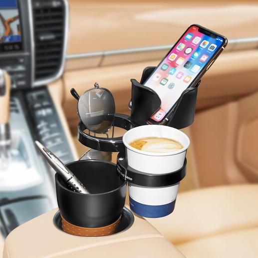 Car-Organizer Macht Schluss mit lose herumliegenden Utensilien im Auto.