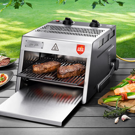 O.F.B. Hochtemperatur-Grill - Der 800 °C-Steakgrill mit extra grosser Grillfläche. Für drinnen und draussen.