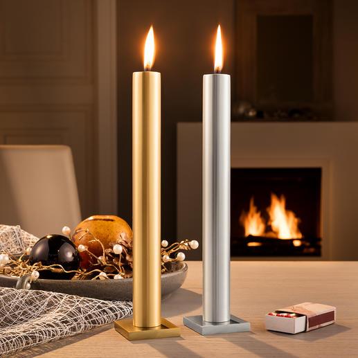 """""""Immer""""-Kerze Verblüffender Effekt: Die elegante Stabkerze, die scheinbar nie herunterbrennt."""