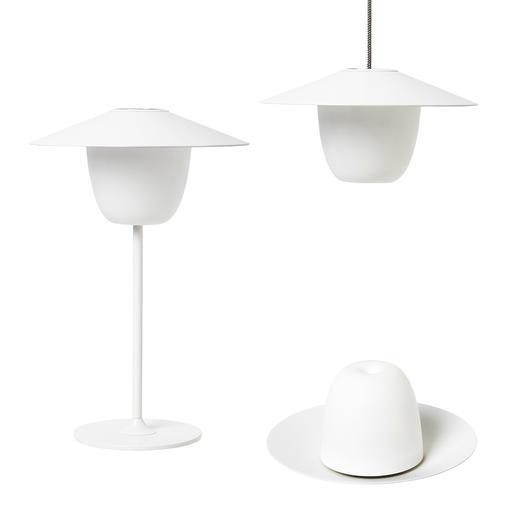 Ani Lamp Im Handumdrehen eine Tisch-, Steh- oder Hängeleuchte. Akkubetrieben. Für drinnen und draussen.