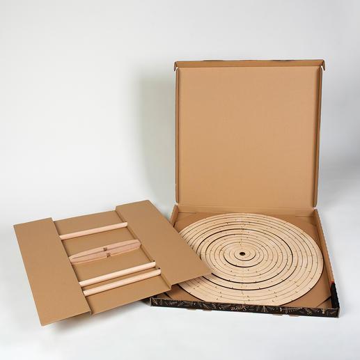 Nach Gebrauch platzsparend im 5cm flachen Karton zu verstauen.