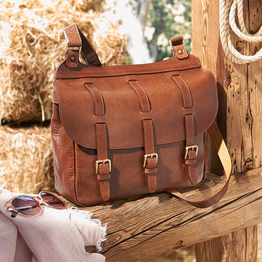 Saddle Bag Aus feinem Rindleder. Ideal für City, Reise, Büro. Von Chiarugi/Firenze, exklusiv für Pro-Idee.