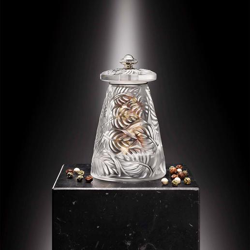 Lalique Pfeffer- oder Salzmühle Feinste französische Glaskunst. Mit Präzisions-Mahlwerk von Peugeot.