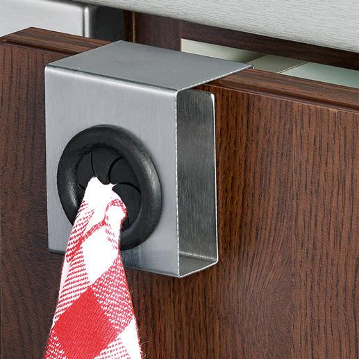 Handtuchhalter Push & Pull, 4er-Set Elegant, stabil und mobil. Ideal für Küche, Bad, Gäste-WC. Auch für (Hand-)Tücher ohne Aufhänger.