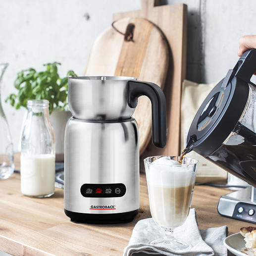 Gastroback Induktions-Milchaufschäumer 4 Automatikprogramme bereiten heissen und kalten Milchschaum, warme Milch und Trinkschokolade. Hygienisch zu reinigen.